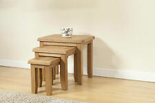SOLID CHUNKY WOOD RUSTIC OAK NEST OF 3 TABLES