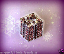 RED HAT SOCIETY LADY PRESENT GIFT BOX LAPEL PIN BROOCH~PURPLE RHINESTONE CRYSTAL