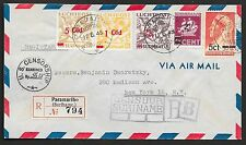 Surinam covers 1945 mixed franked censored R-Airmailcover to New York  LP24f!