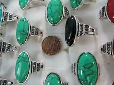 [US SELLER] 10p wholesale vintage inspired turquoise stone costume jewelry rings