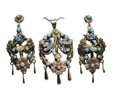 Antique Turquoise Swallow Chandelier Pendant Earrings Set 14K Gold Estate VIDEO