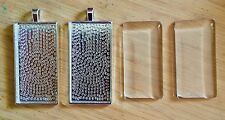 Silver Plated Rectangle Pendant Frames, 24mm x 48mm matching Glass Cabochons x 2