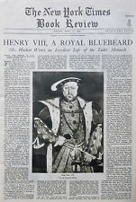 4-1929 April 14 HENRY VIII TUDOR MONARCH - HACKETT HOLBEIN NY Times Book Review