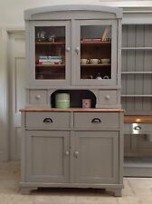Antique Vintage Painted Pine Grey Glazed Dresser Larder Cupboard Kitchen Unit