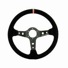 TURN ONE DEEP DISHED SUEDE RACING STEERING WHEEL RACE RALLY BLACK/ORANGE