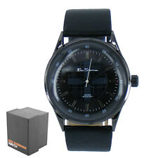 Men's Ben Sherman Stunning Black Patterned Dial Leather Strap Wrist Watch BS030