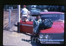 1960s Kodachrome Photo slide Girl Scout by Ford Galaxie 500 car Oregon