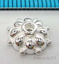 2x BRIGHT STERLING SILVER ROUND FLOWER BEAD CAP 9.3mm #1778