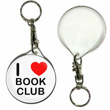 I Love Book Club - 55mm Round Button Badge Key Ring New