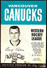 1965 66 VANCOUVER CANUCKS HOCKEY WHL PROGRAM VS PORTLAND BUCKAROOS UNMARKED