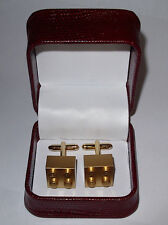 HAND MADE GOLD BRICK / BLOCK  LEGO CUFFLINKS W/ BEAUTIFUL JEWELRY BOX- GIFT