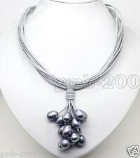 Big 11-12mm Black Akoya Pearl Pendant Necklace Leather Cord Chain Magnet Clasp