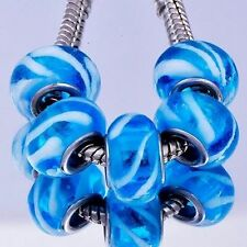 5pcs Blue Murano Glass Lampwork White Twill Bead charmss Fit European Bracelet