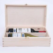 Wooden Wine Box or champagne double bottle natural pine wood metal clasp SW242
