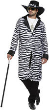 Zebra Print Pimp Gangster Mens Fancy Dress Costume Outfit Size M-L P8401