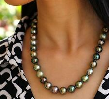 stunning AAA 10-11 mm Tahitian round multicolor pearl necklace 18 INCH