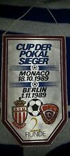 RARE Fanion AS Monaco BFC Dynamo Berlin Pennant Wimpel Coupe d` Europe 1989 DDR