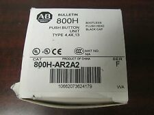 ALLEN BRADLEY Black Bootless Flush Head Push Button w/ Contact Block 800H AR2A2