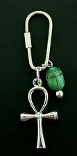 Egyptian Ankh or Key of Life -   Key Chain with  vintage scarab   Silver Tone