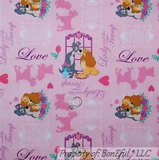 BonEful Fabric Cotton Quilt Pink Disney Lady & the Tramp Dog Heart Rose NR SCRAP