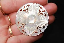 Abalone Mother of Pearl pin Brooch Lotus flower style Hand carved! BEAUTIFUL!