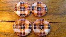 "4 Large Brown Black Orange Beveled Wooden Tartan Buttons 30mm 1 3/8""  Coat Aran"