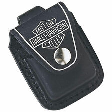 Zippo HDPBK, Harley Davidson Black Leather Lighter Pouch, Belt Loop