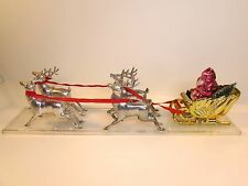 "VINTAGE IRWIN 15"" PLASTIC SANTA CLAUS SLEIGH REINDEER BRISTLE CHRISTMAS TREE"