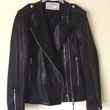 ZARA AW16 BLACK LEATHER STUDIO JACKET Size M-L Ref. 3138/041