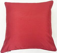 "2 X FILLED SUPERB RED PLAIN FAUX SILK 18"" CUSHIONS"