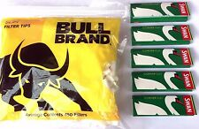 Bull Brand SLIM Filter Tips and 5 x Swan Green Tobacco Rolling Cigarette Papers