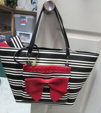 BETSEY JOHNSON BLACK STRIPED RED BOW SHOPPER TOTE BAG PURSE & WALLET