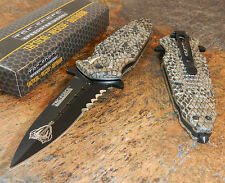 TAC FORCE Spring Assisted Open COBRA SNAKE SKIN DAGGER Tactical Rescue Knife