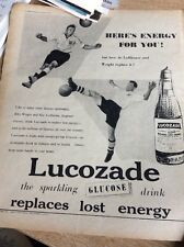 Q1-h Ephemera 1954 Advert Lucozade Billy Wright Nat Lofthouse