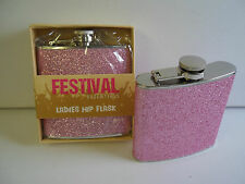 Ladies Pink Glitter 6 OZ Hip Flask Ideal For Pocket Bag Festivals Night Out