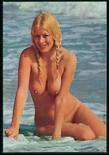 Pinup pin up full nude woman nudist beach beauty original c1950s postcard a02