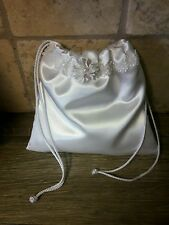 White satin lace dollar dance bag pouch money bag