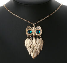 Retro Cute Blue Eye Owl Pendant leaf Tassels Long Chain Statement Necklace