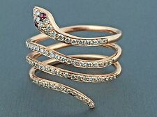 0.36ct Round Diamond in 14K Rose Gold Snake Wrap Statement Ring - Size 7