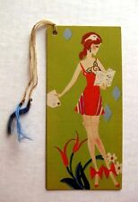 Real Vintage 1920s Art Deco Style Bookmark Bridge Tally w Woman Reading Letter B