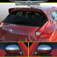Fits NISSAN JUKE Factory Style Spoiler + Top Half Chrome Mirror Covers Overlays