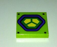 ORIGINAL Lego part - 2x2 printed tile from lex luthor car 10724 lime green