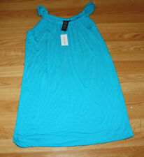 NWT Womens SPENSE Montegobay Blue Stretch Swim Cover Sun Dress L Large