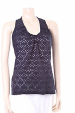 Ladies Nueva Black & White Top Size 10 Stretchy Crocheted Evening Party Vest
