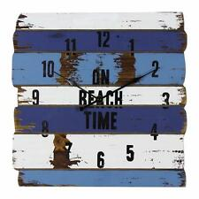 Beach Design Nautical Blue and White Striped Vintage Look Clock New Boxed W7738