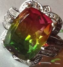 Rainbow Genesis Quartz Accented with White Topaz In Sterling Silver