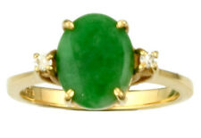 14K Yellow Gold Oval Apple Green Jade Solitaire with Diamond Accents Ring SZ6.25