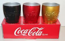 * Coca Cola 3 MIRROR BICCHIERI Nero Rosso Oro lavabile in lavastoviglie *
