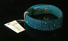 Swarovski Elements Slake Bracelet Crystal Teal Green Alcantara Leather Cuff