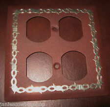 WESTERN LIGHT FIXTURE-DOUBLE  OUTLET COVER BARBWIRE DESIGN RUST-ANTIQUE